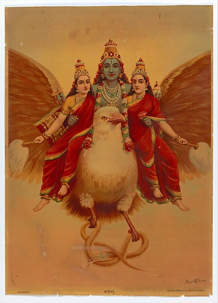Ravi Varma Fine Arts Lithographic Press Shri Vishnu, 1894–1900 India, Lithograph; Sheet: 28 5/8 × 20 1/2 in. (72.7 × 52.1 cm) The Metropolitan Museum of Art, New York, Gift of Mark Baron and Elise Boisanté, 2012 (2012.523.6) http://www.metmuseum.org/Collections/search-the-collections/78253